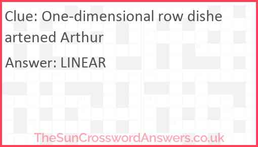 One-dimensional row disheartened Arthur Answer