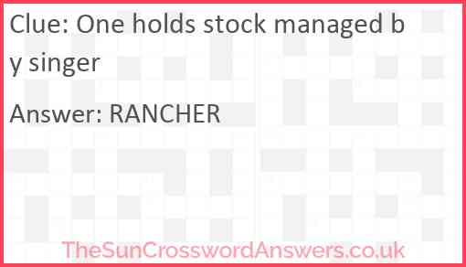 One holds stock managed by singer Answer
