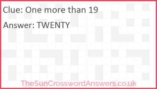 One more than 19 Answer