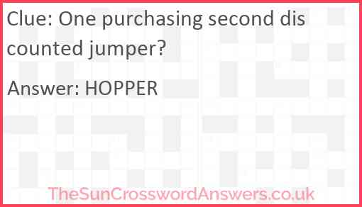 One purchasing second discounted jumper? Answer