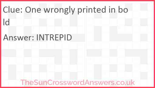 One wrongly printed in bold Answer