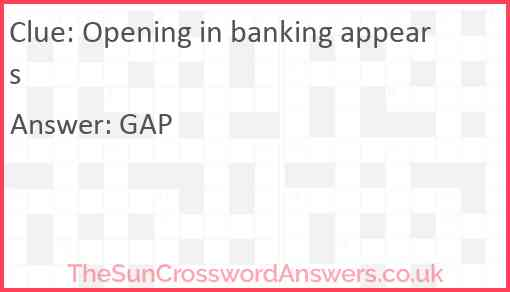 Opening in banking appears Answer