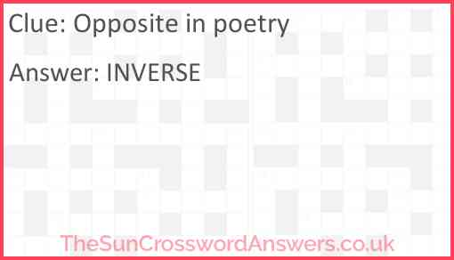 Opposite in poetry Answer