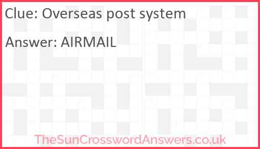 Overseas post system Answer