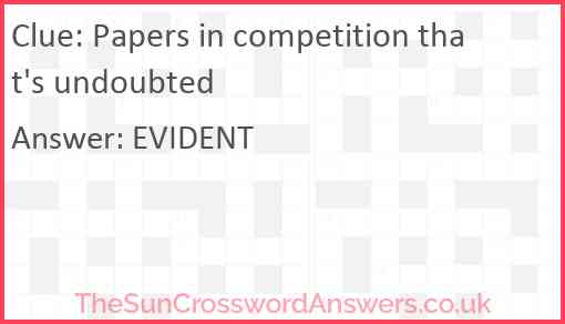 Papers in competition that's undoubted Answer