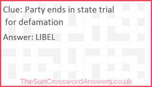 Party ends in state trial for defamation Answer