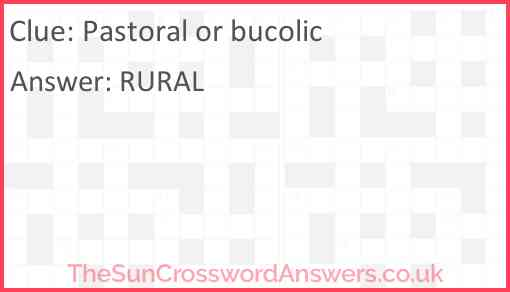 Pastoral or bucolic Answer