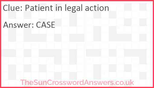 Patient in legal action Answer