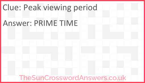 Peak viewing period Answer