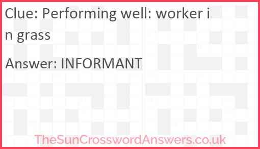 Performing well: worker in grass Answer