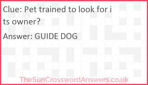 Pet trained to look for its owner? Answer