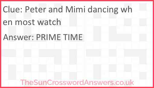 Peter and Mimi dancing when most watch Answer