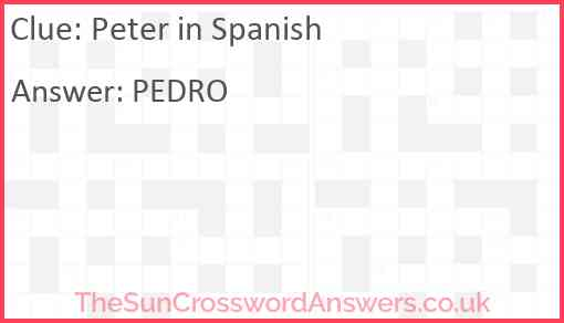 Peter in Spanish Answer