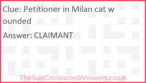 Petitioner in Milan cat wounded Answer