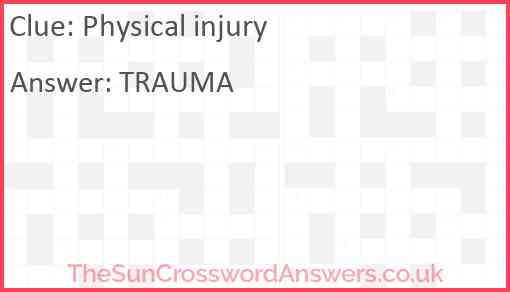 Physical injury Answer