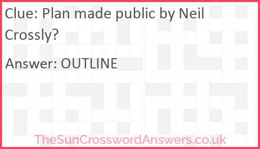 Plan made public by Neil Crossly? Answer