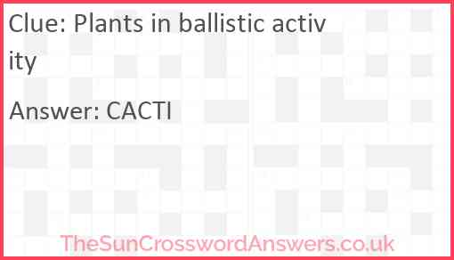 Plants in ballistic activity Answer