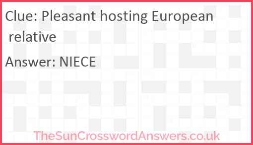 Pleasant hosting European relative Answer