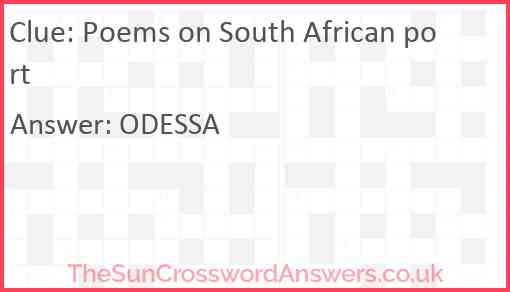 Poems on South African port Answer