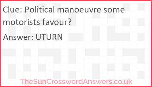 Political manoeuvre some motorists favour? Answer