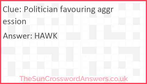 Politician favouring aggression Answer