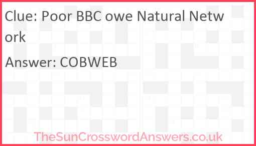 Poor BBC owe Natural Network Answer