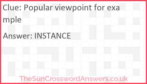 Popular viewpoint for example Answer