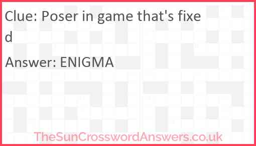 Poser in game that's fixed Answer
