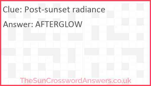 Post-sunset radiance Answer