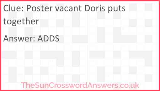 Poster vacant Doris puts together Answer