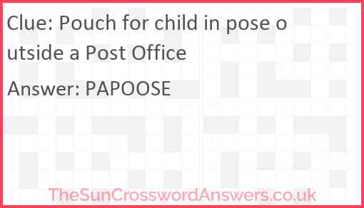 Pouch for child in pose outside a Post Office Answer