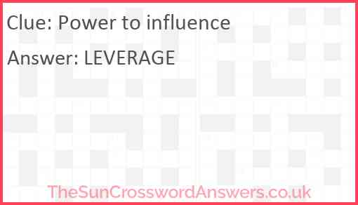 Power to influence Answer