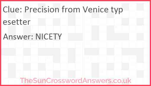 Precision from Venice typesetter Answer