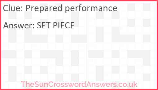 Prepared performance Answer