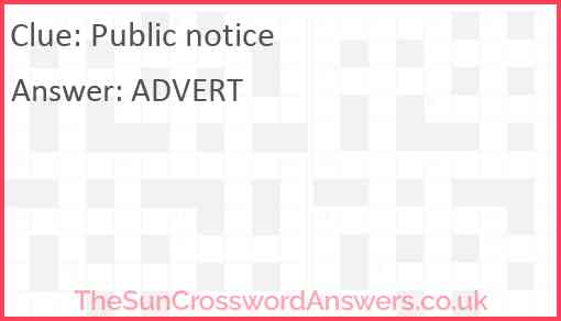 Public notice Answer