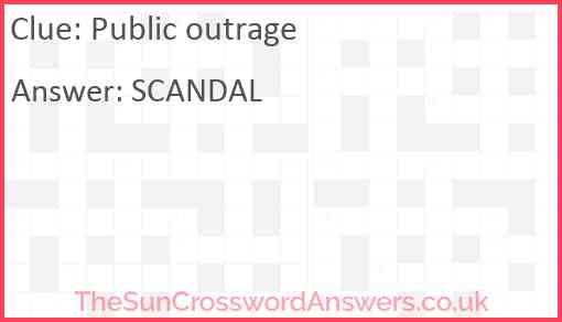Public outrage Answer