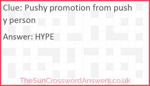 Pushy promotion from pushy person Answer