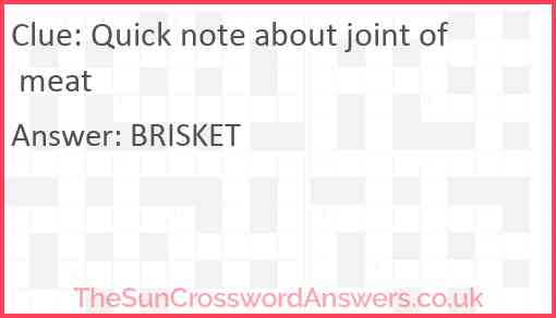 Quick note about joint of meat Answer