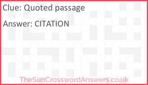 Quoted passage Answer