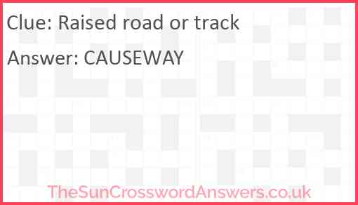 Raised road or track Answer