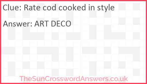 Rate cod cooked in style Answer
