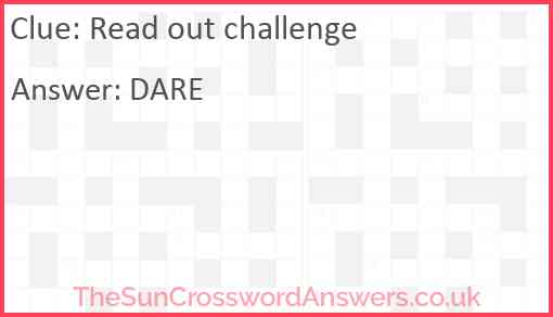 Read out challenge Answer