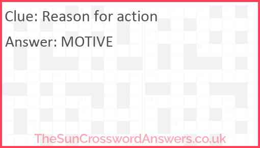 Reason for action Answer