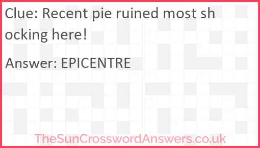 Recent pie ruined most shocking here! Answer