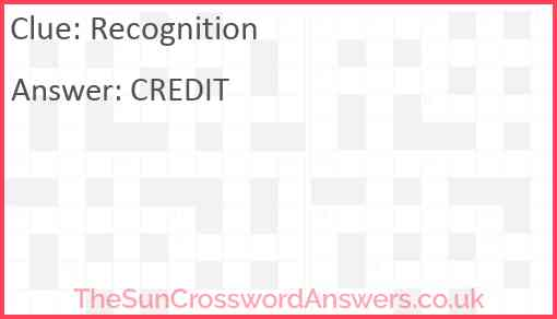 Recognition Answer