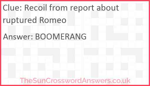 Recoil from report about ruptured Romeo Answer