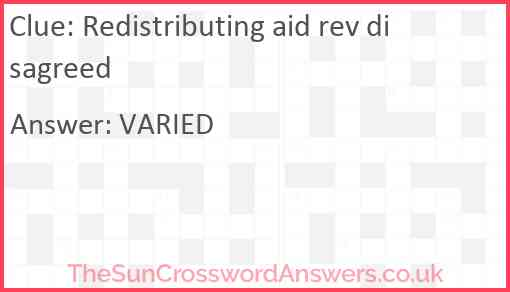 Redistributing aid rev disagreed Answer
