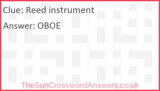 Reed instrument Answer