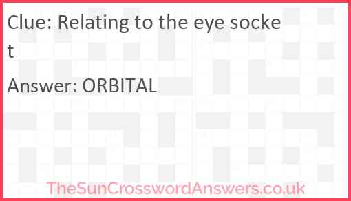 Relating to the eye socket Answer