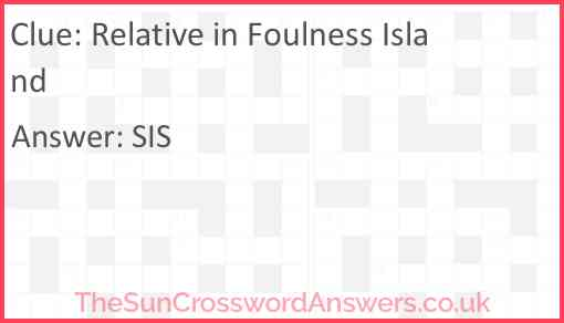 Relative in Foulness Island Answer